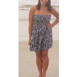 Black and White Patterned Beach Dress/Cover Up